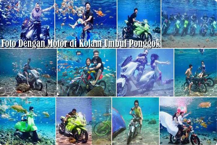 Foto Dengan Motor di Kolam Umbul Ponggok